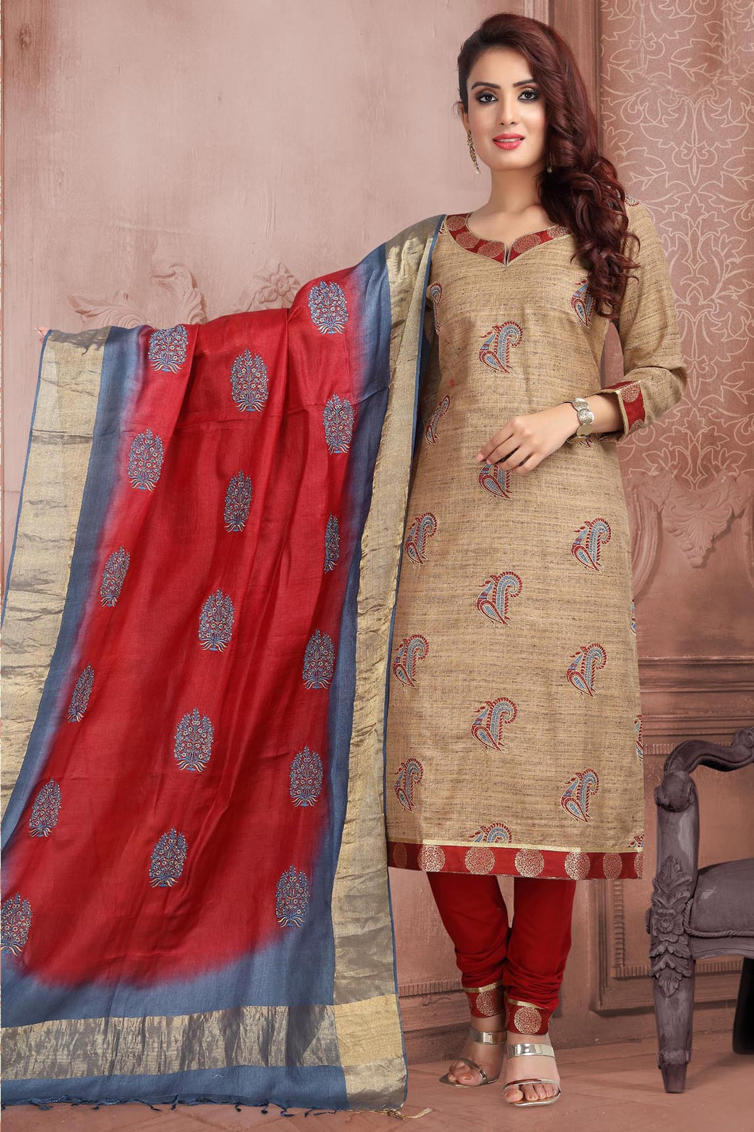 Bhelpuri Tussar Slub  Dark Beige Designer Party Wear Salwar Suit