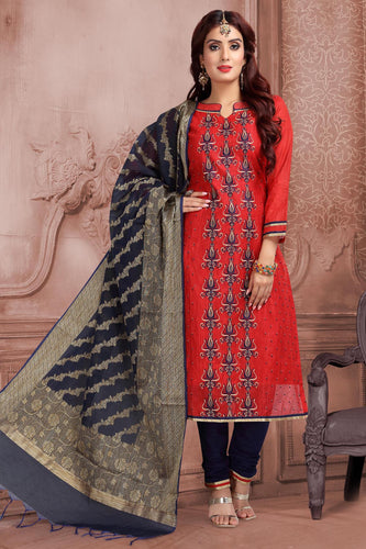 Bhelpuri Banarasi Slub Red  Designer Party Wear Salwar Suit