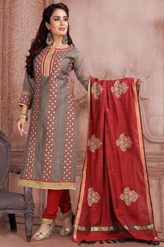 Bhelpuri Banarasi Slub Silk Grey Designer Party Wear Salwar Suit