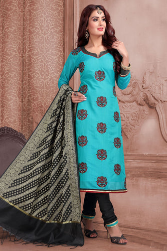 Bhelpuri Banarasi Silk  Light Turquoise Blue Designer Party Wear Salwar Suit