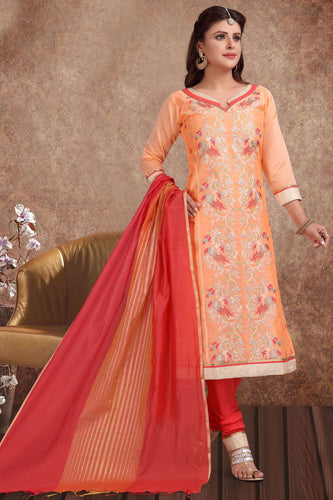 Bhelpuri Chanderi Silk Banarasi Peach Light Designer Party Wear Salwar Suit
