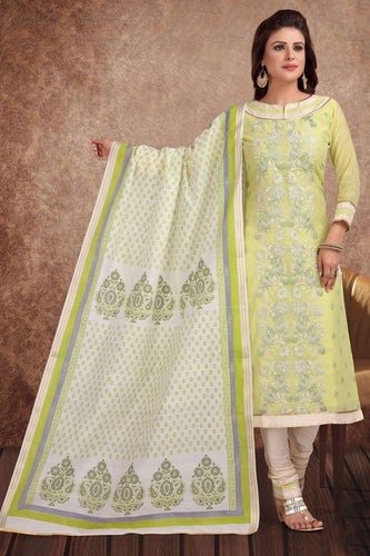 Bhelpuri Chanderi Silk Banarasi Green Light Designer Party Wear Salwar Suit