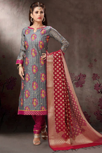 Bhelpuri Banaras Silk Jaquard Grey Designer Party Wear Salwar Suit