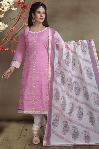 Bhelpuri Cotton Silk Pink Designer Party Wear Salwar Suit