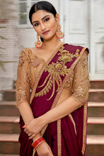 Load image into Gallery viewer, Bhelpuri Maroon Rangoli Georgette Based Embroidered Saree with Blouse Piece