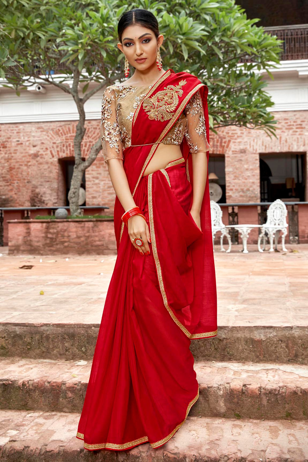 Bhelpuri Red Rangoli Georgette Based Embroidered Saree with Blouse Piece
