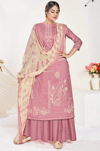 Bhelpuri Old Rose Pure Cambric Cotton Digital Style Print With Swarovski Diamond Work Designer Party Wear Salwar Suit