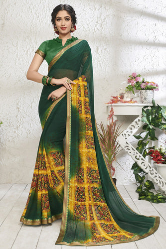 Bhelpuri Green Georgette Printed Saree with Blouse Piece