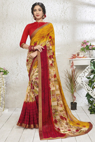 Bhelpuri Yellow Georgette Printed Saree with Blouse Piece