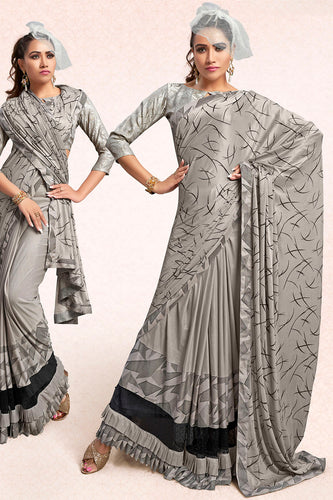 Bhelpuri Silver Lycra Embellished Saree with Blouse Piece