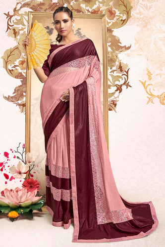 Bhelpuri Light Pink Lycra Embellished Saree with Blouse Piece