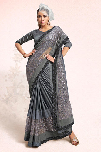 Bhelpuri Grey Lycra Embellished Saree with Blouse Piece