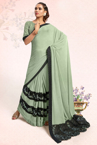 Bhelpuri Pista Green Lycra Embellished Saree with Blouse Piece