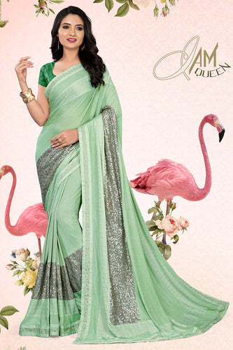 Bhelpuri Light Green Lycra Embellished Saree with Blouse Piece