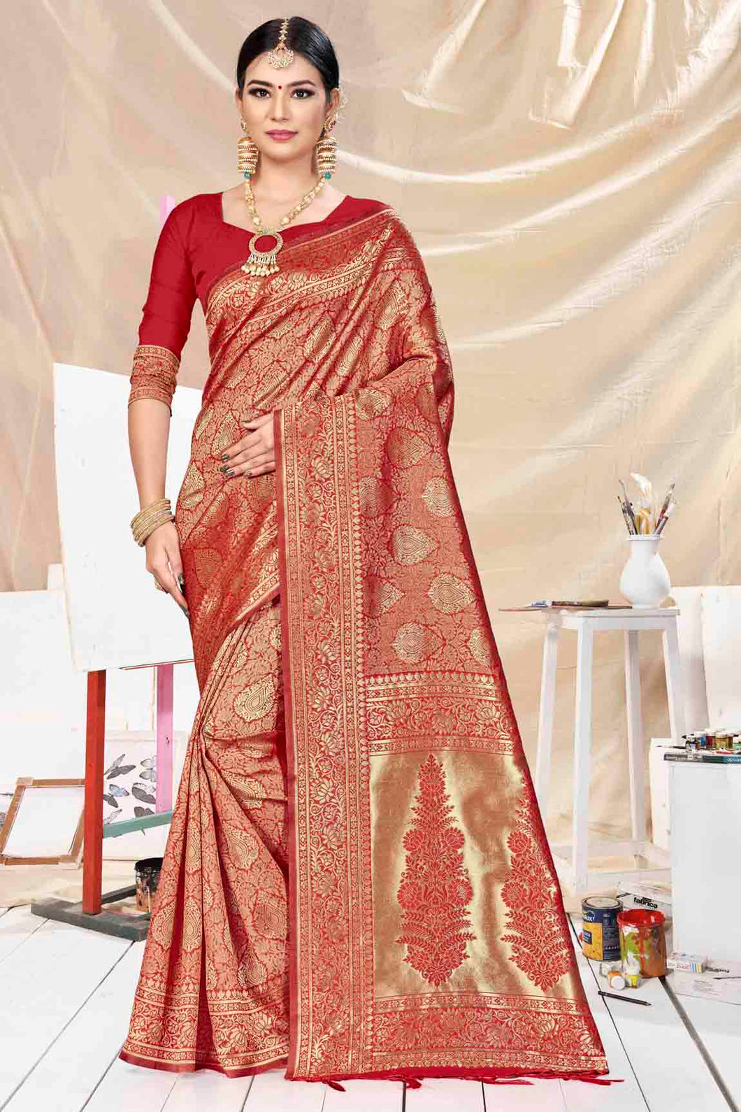 Bhelpuri Red Banarasi Silk Woven Saree with Blouse Piece