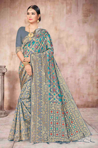 Bhelpuri Grey Banarasi Silk Woven Saree with Blouse Piece