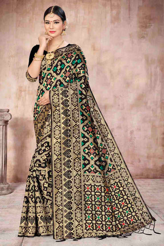 Bhelpuri Black Banarasi Silk Woven Saree with Blouse Piece