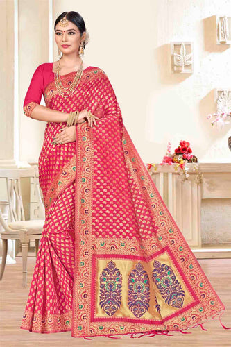 Bhelpuri Rani Pink Banarasi Silk Woven Saree with Blouse Piece