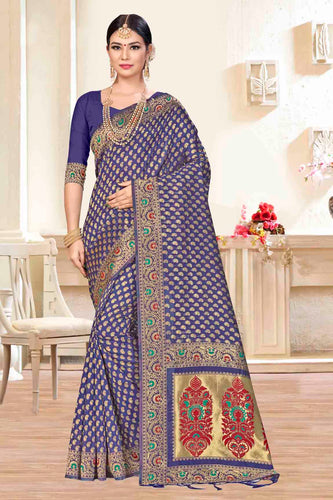 Bhelpuri Blue Banarasi Silk Woven Saree with Blouse Piece