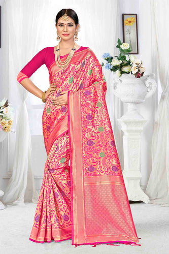 Bhelpuri Pink Banarasi Silk Woven Saree with Blouse Piece