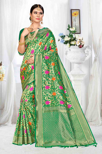 Bhelpuri Light Green Banarasi Silk Woven Saree with Blouse Piece