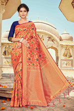 Load image into Gallery viewer, Bhelpuri Red Banarasi Silk Woven Saree with Blouse Piece