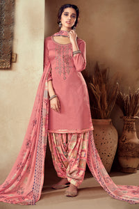 Bhelpuri Peach Pure Zam Cotton Embroidred Designer Party Wear Salwar Suit