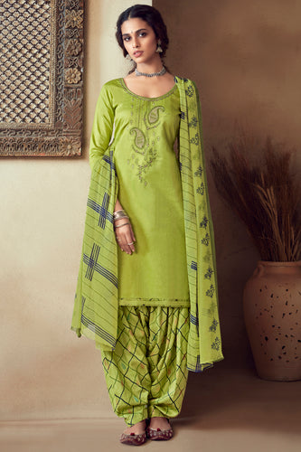 Bhelpuri Light Green Pure Zam Cotton Embroidred Designer Party Wear Salwar Suit