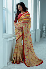 Load image into Gallery viewer, Bhelpuri Beige Pure Georgette Saree Comprising Embroidery Border Work with Red Blouse Piece