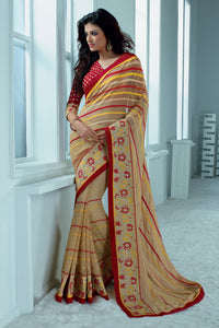 Bhelpuri Beige Pure Georgette Saree Comprising Embroidery Border Work with Red Blouse Piece