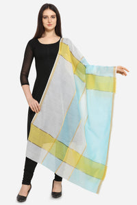 Admyrin Linen Tissue Yellow & Blue Printed Dupatta