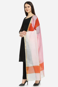 Admyrin Linen Tissue Orange & Pink Printed Dupatta