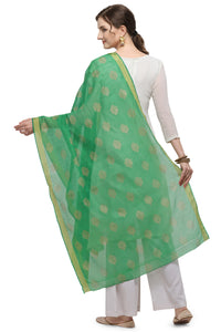 Bhelpuri Green Linen Tissue Golden Printing Fancy Dupatta