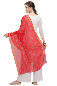 Bhelpuri Red Linen Tissue Golden Printing Fancy Dupatta