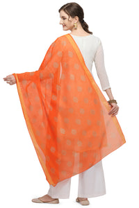 Bhelpuri Orange Linen Tissue Golden Printing Fancy Dupatta