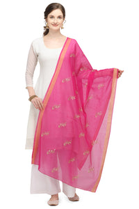 Bhelpuri Pink Linen Tissue Embroidery Fancy Dupatta