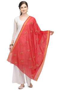 Bhelpuri Red Linen Tissue Embroidery Fancy Dupatta