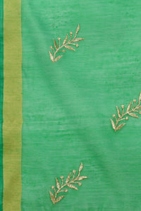 Bhelpuri Green Linen Tissue Embroidery Fancy Dupatta