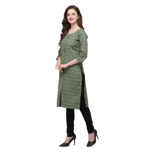 Admyrin Dark Green Flex Cotton Straight Fit Printed Kurti