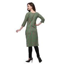 Load image into Gallery viewer, Admyrin Dark Green Flex Cotton Straight Fit Printed Kurti
