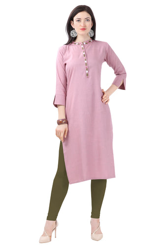 Admyrin Baby Pink Glossy Cotton Embroidered Kurti