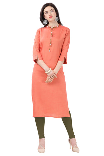 Admyrin Orange Glossy Cotton Embroidered Kurti