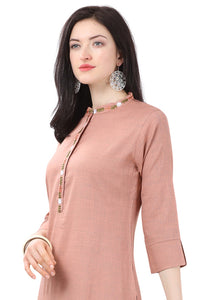 Admyrin Beige Glossy Cotton Embroidered Kurti