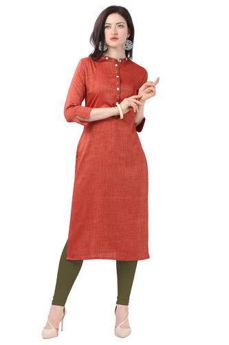 Admyrin Brick Red Glossy Cotton Embroidered Kurti