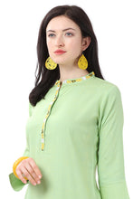 Load image into Gallery viewer, Admyrin Green Glossy Cotton Embroidered Kurti