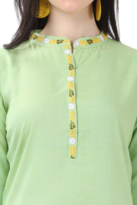 Admyrin Green Glossy Cotton Embroidered Kurti