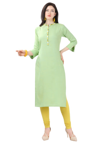 Admyrin Green Glossy Cotton Printed Kurti