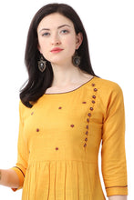 Load image into Gallery viewer, Admyrin Yellow Pure Cotton Embroidered Kurti