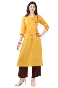 Admyrin Yellow Pure Cotton Embroidered Kurti