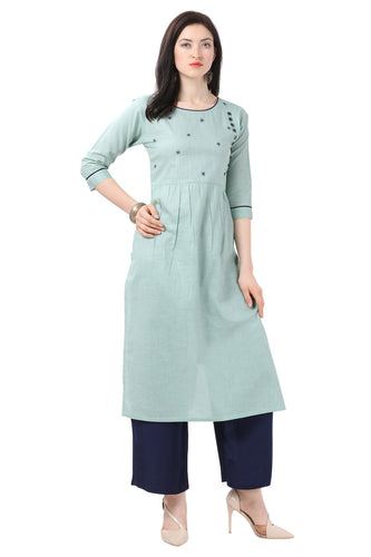 Admyrin Light Blue Pure Cotton Printed Kurti